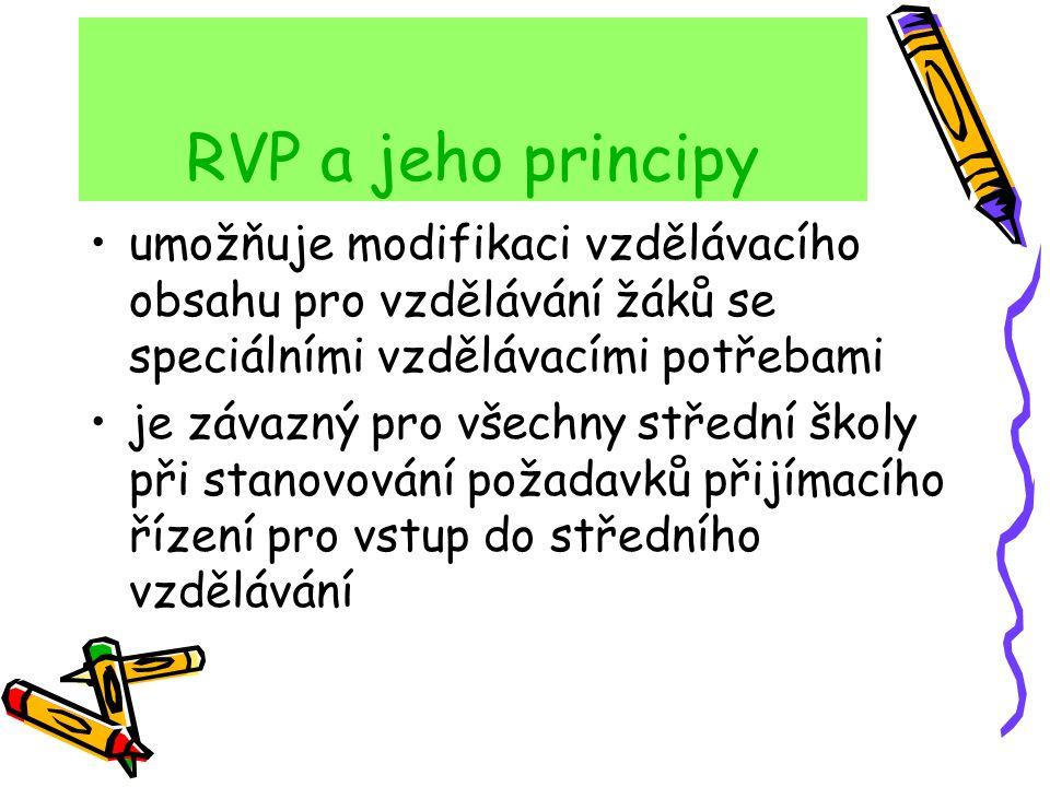 RVP a jeho principy umožňuje modifikaci vzdělávacího obsahu pro vzdělávání žáků se speciálními vzdělávacími potřebami je závazný pro všechny střední š