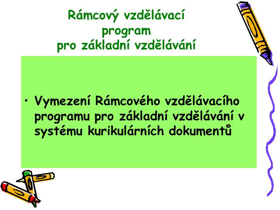 Rámcový vzdělávací program pro základní vzdělávání Vymezení Rámcového vzdělávacího programu pro základní vzdělávání v systému kurikulárních dokumentů