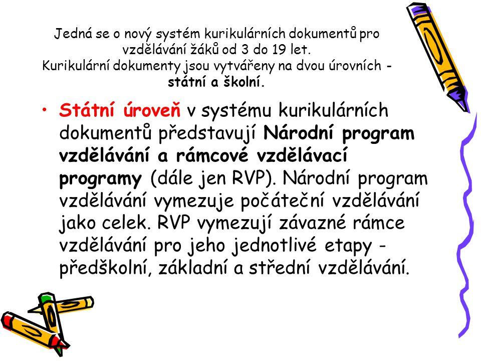 Jedná se o nový systém kurikulárních dokumentů pro vzdělávání žáků od 3 do 19 let. Kurikulární dokumenty jsou vytvářeny na dvou úrovních - státní a šk