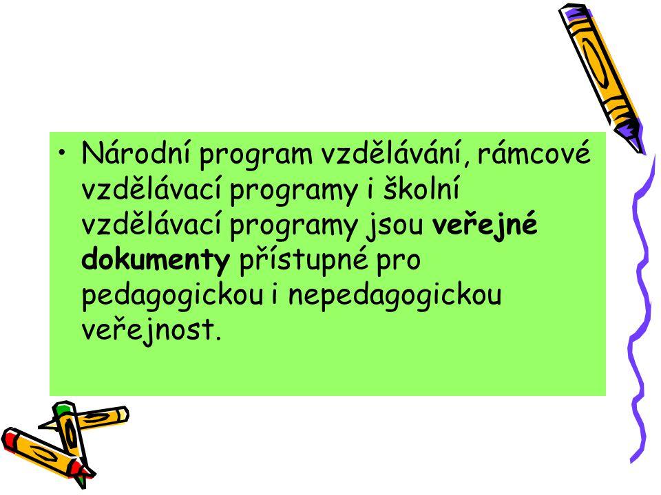 Národní program vzdělávání, rámcové vzdělávací programy i školní vzdělávací programy jsou veřejné dokumenty přístupné pro pedagogickou i nepedagogicko