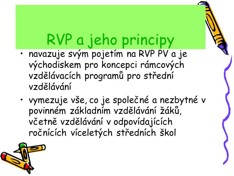 RVP a jeho principy navazuje svým pojetím na RVP PV a je východiskem pro koncepci rámcových vzdělávacích programů pro střední vzdělávání vymezuje vše,