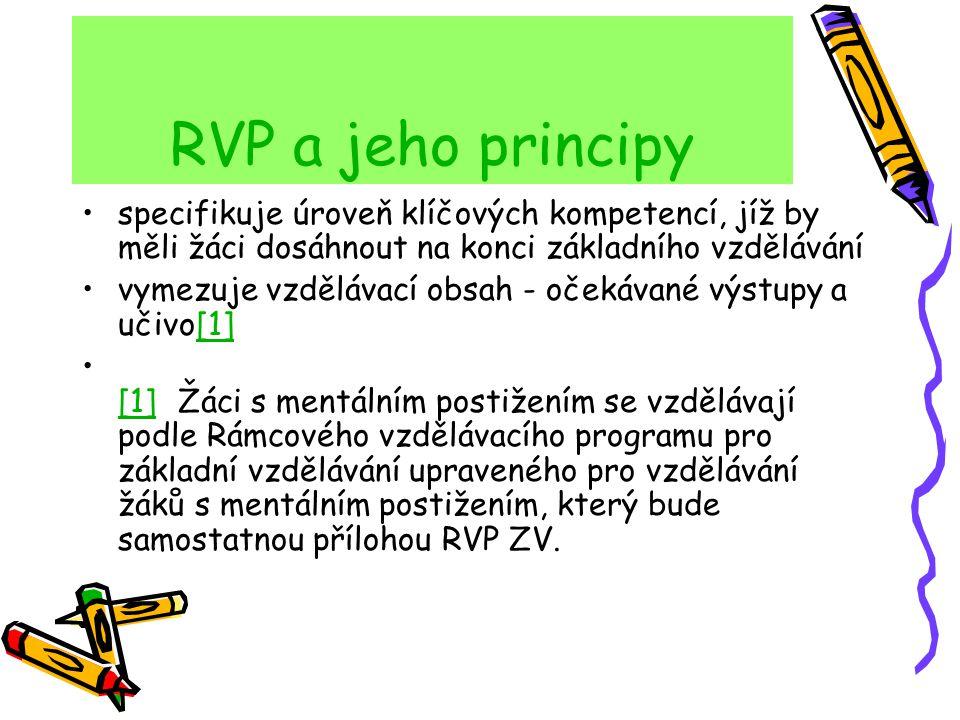 RVP a jeho principy zařazuje jako závaznou součást základního vzdělávání průřezová témata s výrazně formativními funkcemi podporuje komplexní přístup k realizaci vzdělávacího obsahu, včetně možnosti jeho vhodného propojování, a předpokládá volbu různých vzdělávacích postupů, odlišných metod a forem výuky ve shodě s individuálními potřebami žáků