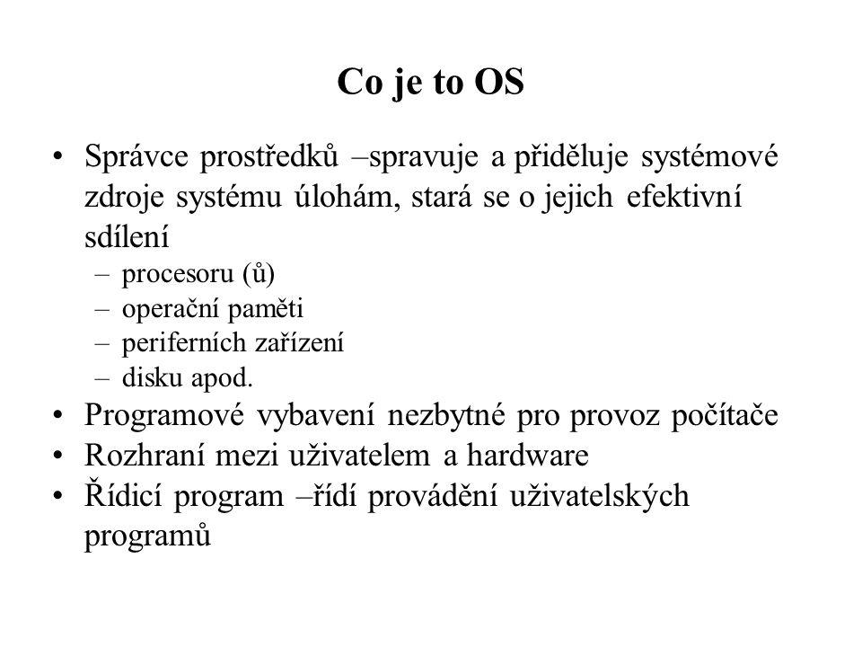 Co je to OS Správce prostředků –spravuje a přiděluje systémové zdroje systému úlohám, stará se o jejich efektivní sdílení –procesoru (ů) –operační pam
