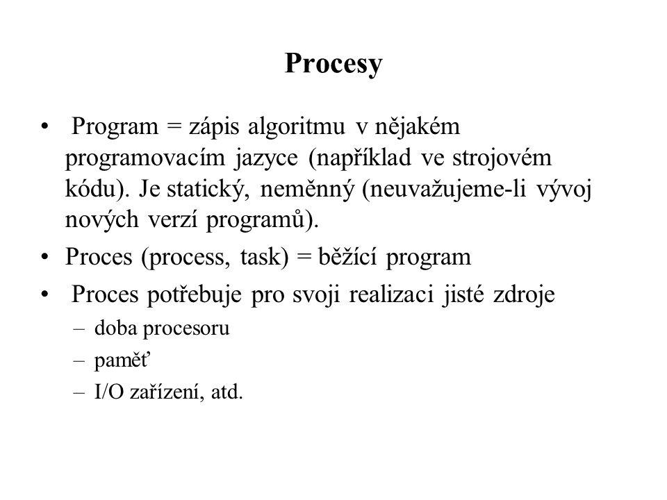 Procesy Program = zápis algoritmu v nějakém programovacím jazyce (například ve strojovém kódu). Je statický, neměnný (neuvažujeme-li vývoj nových verz