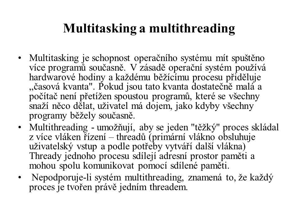Multitasking a multithreading Multitasking je schopnost operačního systému mít spuštěno více programů současně. V zásadě operační systém používá hardw