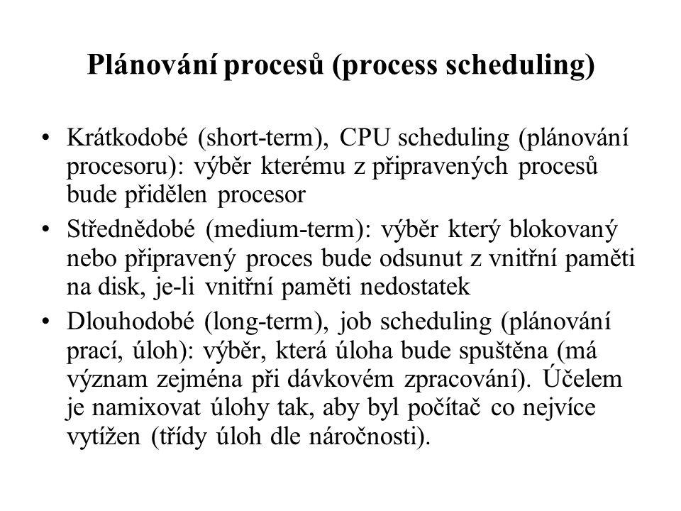 Plánování procesů (process scheduling) Krátkodobé (short-term), CPU scheduling (plánování procesoru): výběr kterému z připravených procesů bude přiděl