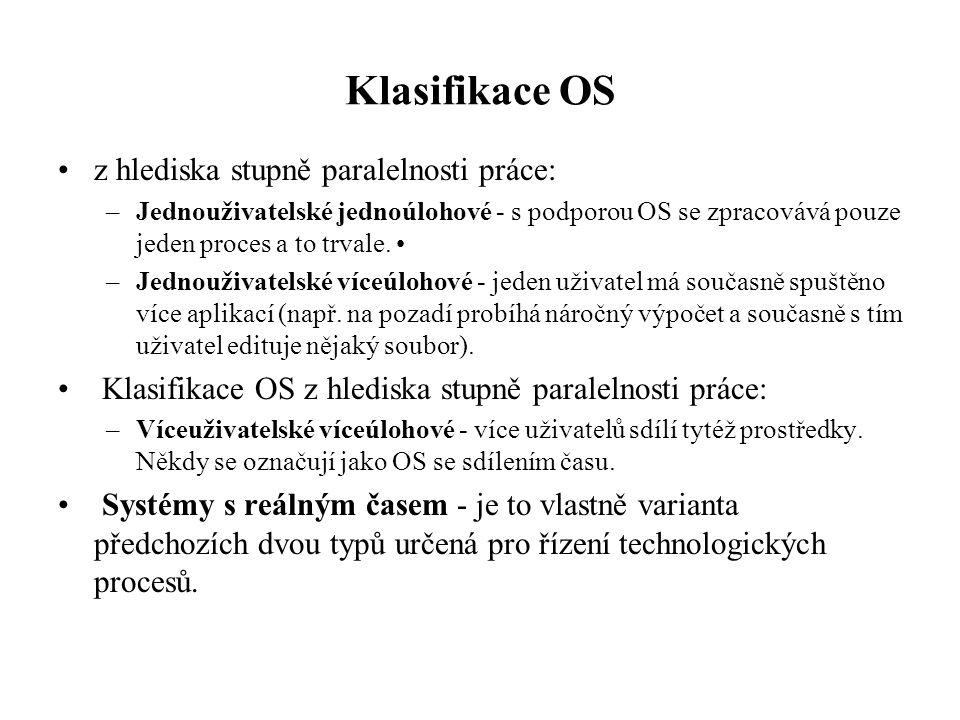 Klasifikace OS z hlediska stupně paralelnosti práce: –Jednouživatelské jednoúlohové - s podporou OS se zpracovává pouze jeden proces a to trvale. –Jed