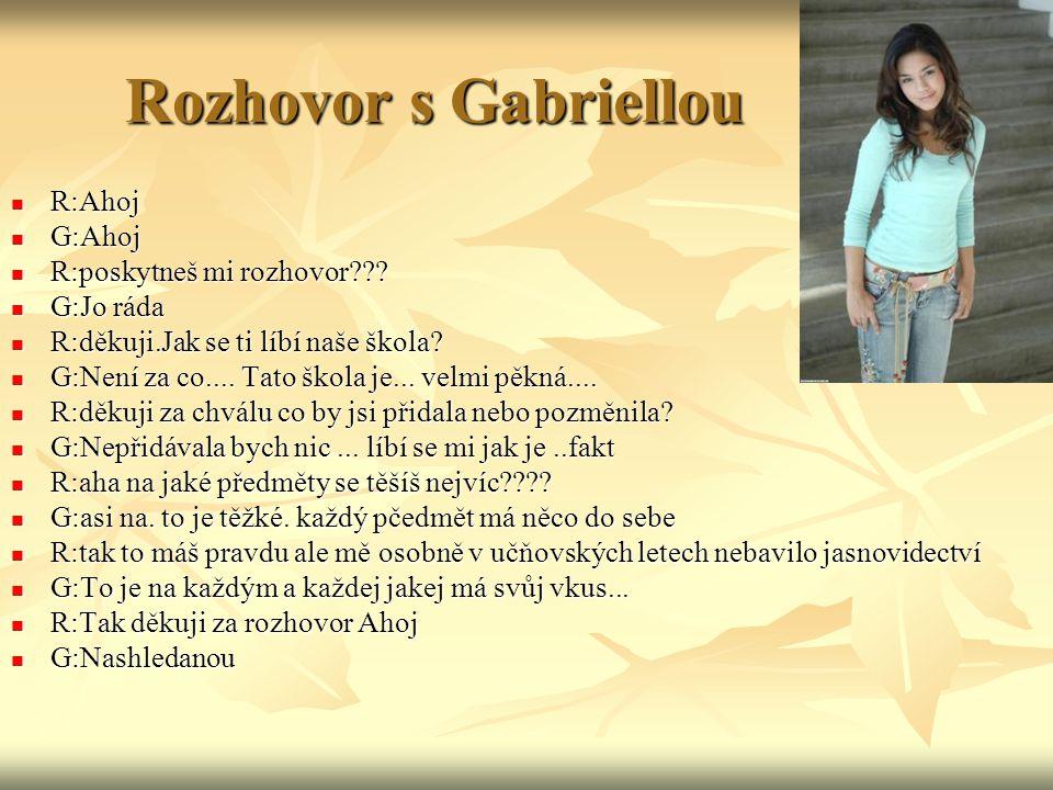 Rozhovor s Gabriellou R:Ahoj R:Ahoj G:Ahoj G:Ahoj R:poskytneš mi rozhovor .