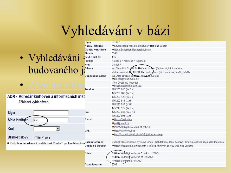 Školen - Zlín, 7.2.2007 Vyhledávání v bázi Vyhledávání = přednost adresáře budovaného jako báze Záznam v bázi