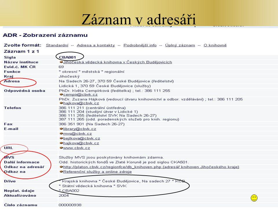Školen - Zlín, 7.2.2007 Záznam v adresáři