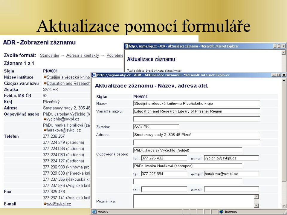 Školen - Zlín, 7.2.2007 Aktualizace pomocí formuláře