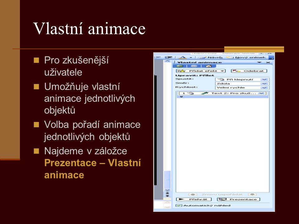Vlastní animace Pro zkušenější uživatele Umožňuje vlastní animace jednotlivých objektů Volba pořadí animace jednotlivých objektů Najdeme v záložce Prezentace – Vlastní animace