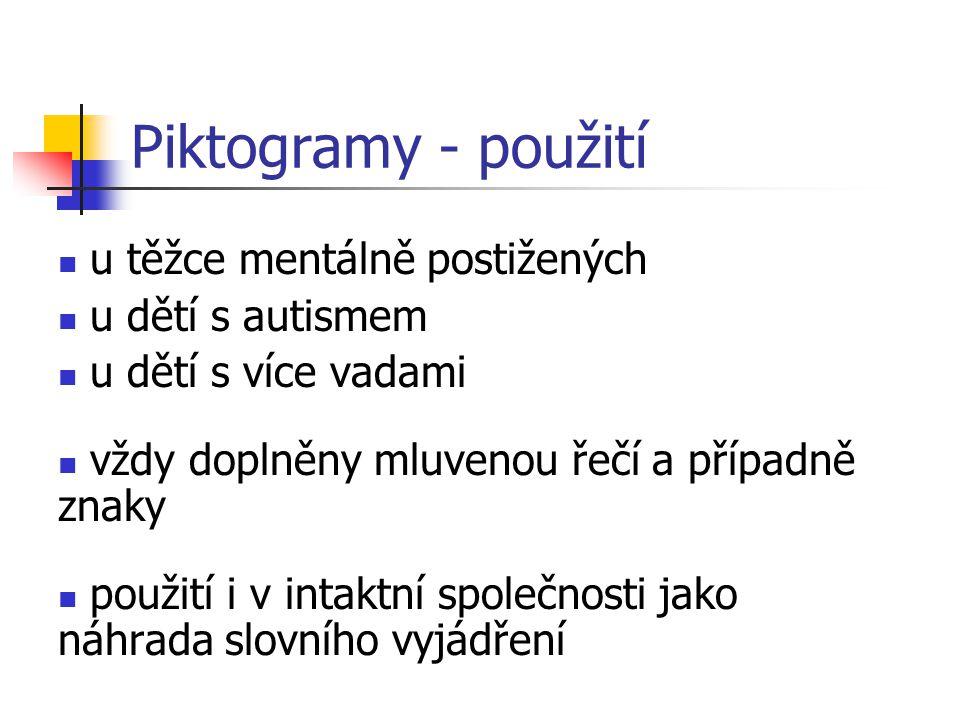 Piktogramy - definice Piktogramy jsou komunikační systém umožňující komunikaci a rozvoj řeči u dětí i dospělých s mentálním či kombinovaným postižením