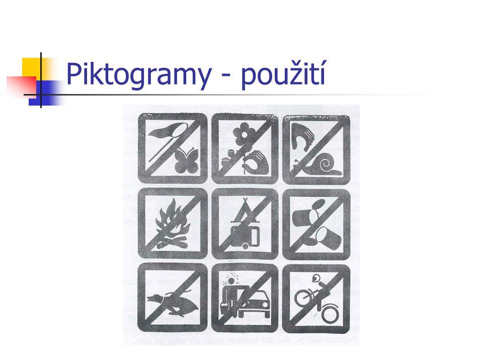 Piktogramy - použití u těžce mentálně postižených u dětí s autismem u dětí s více vadami vždy doplněny mluvenou řečí a případně znaky použití i v inta