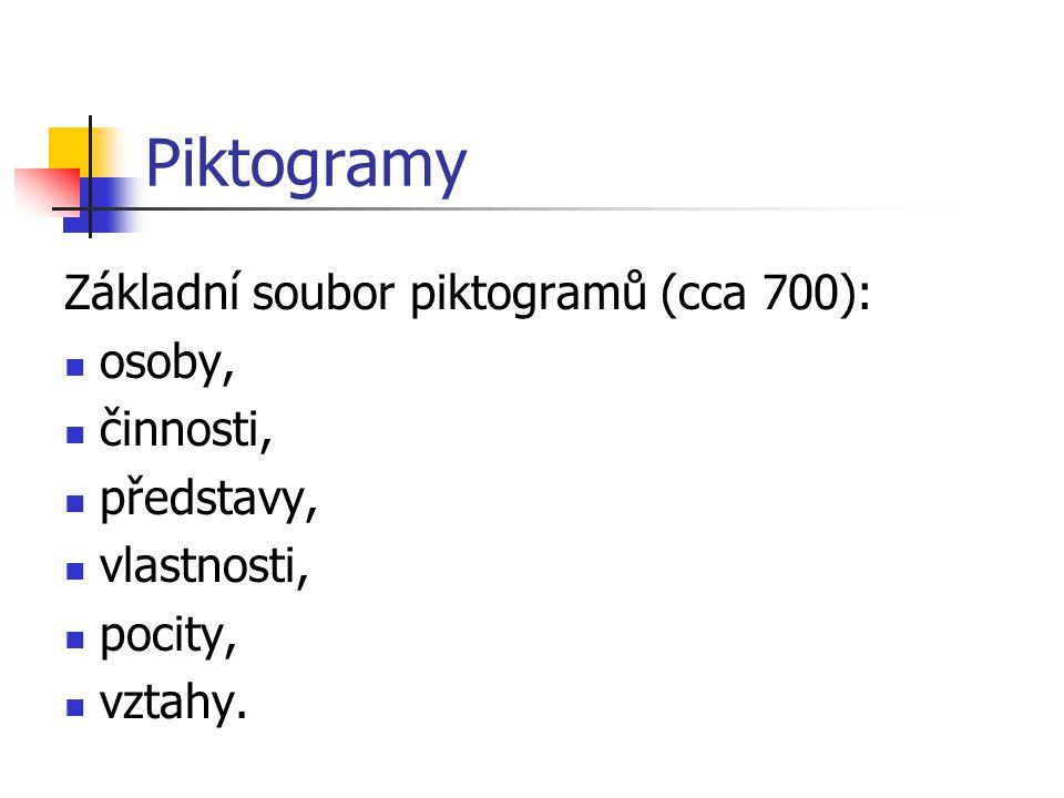 Piktogramy Základní soubor piktogramů (cca 700): osoby, činnosti, představy, vlastnosti, pocity, vztahy.