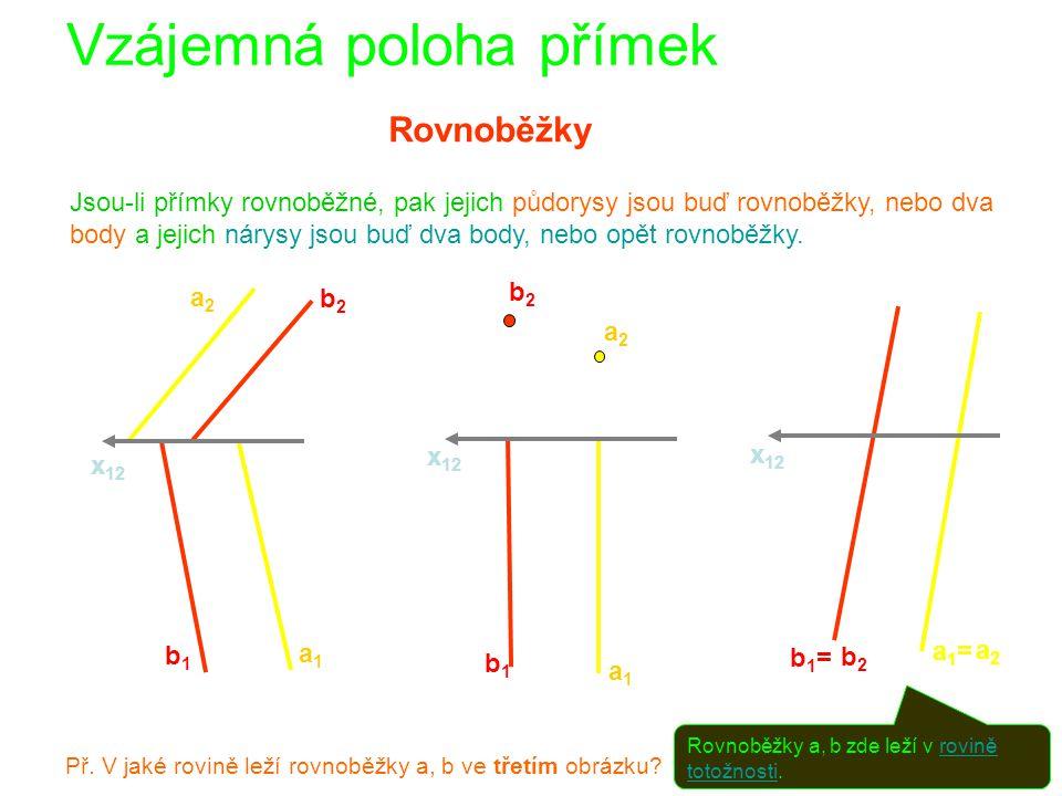 Vzájemná poloha přímek Rovnoběžky Jsou-li přímky rovnoběžné, pak jejich půdorysy jsou buď rovnoběžky, nebo dva body a jejich nárysy jsou buď dva body, nebo opět rovnoběžky.
