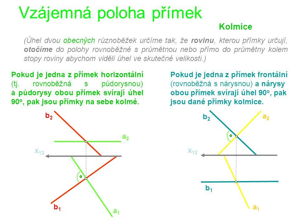 Vzájemná poloha přímek x 12 Kolmice b 2 a1a1 b1b1 a2a2 b2 b2 a1a1 b1b1 a2a2 x 12 Pokud je jedna z přímek horizontální (tj.