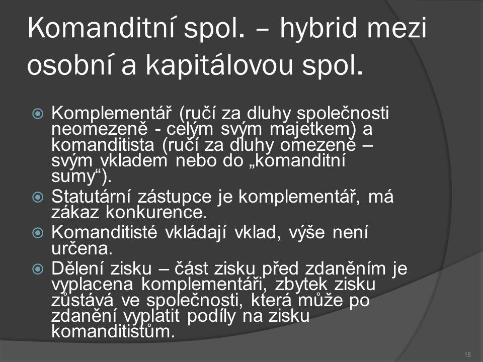 Komanditní spol. – hybrid mezi osobní a kapitálovou spol.  Komplementář (ručí za dluhy společnosti neomezeně - celým svým majetkem) a komanditista (r