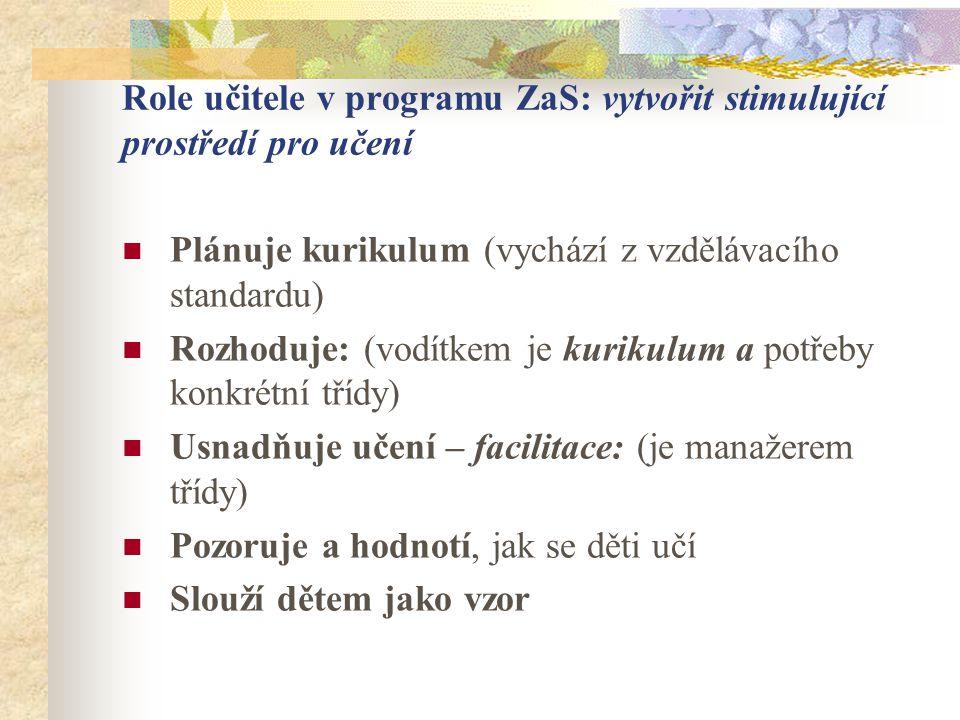 Role učitele v programu ZaS: vytvořit stimulující prostředí pro učení Plánuje kurikulum (vychází z vzdělávacího standardu) Rozhoduje: (vodítkem je kur