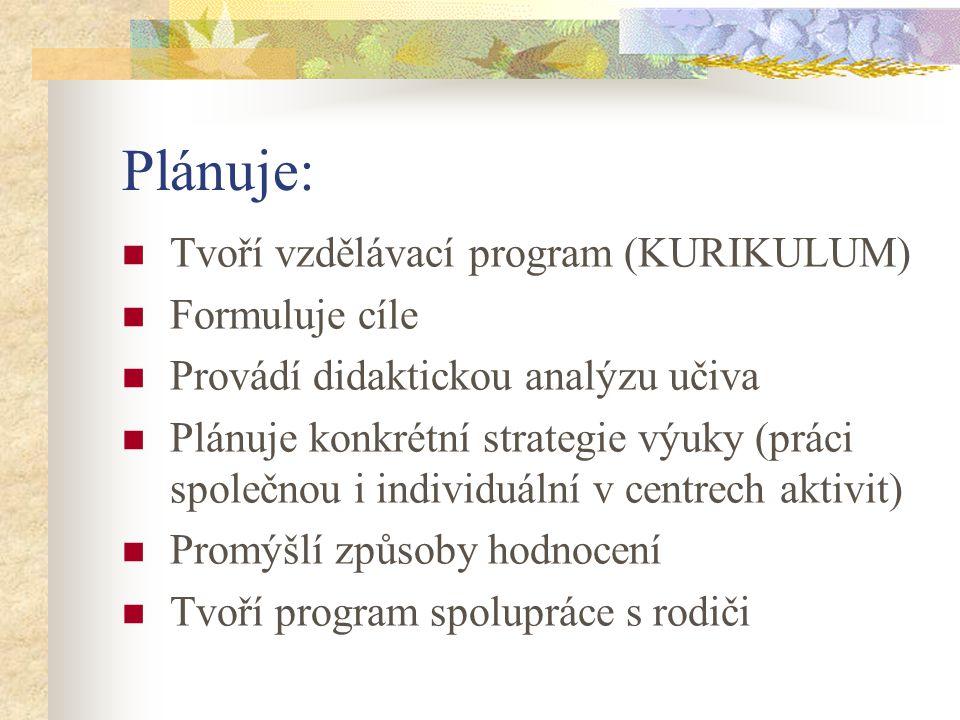 Plánuje: Tvoří vzdělávací program (KURIKULUM) Formuluje cíle Provádí didaktickou analýzu učiva Plánuje konkrétní strategie výuky (práci společnou i in