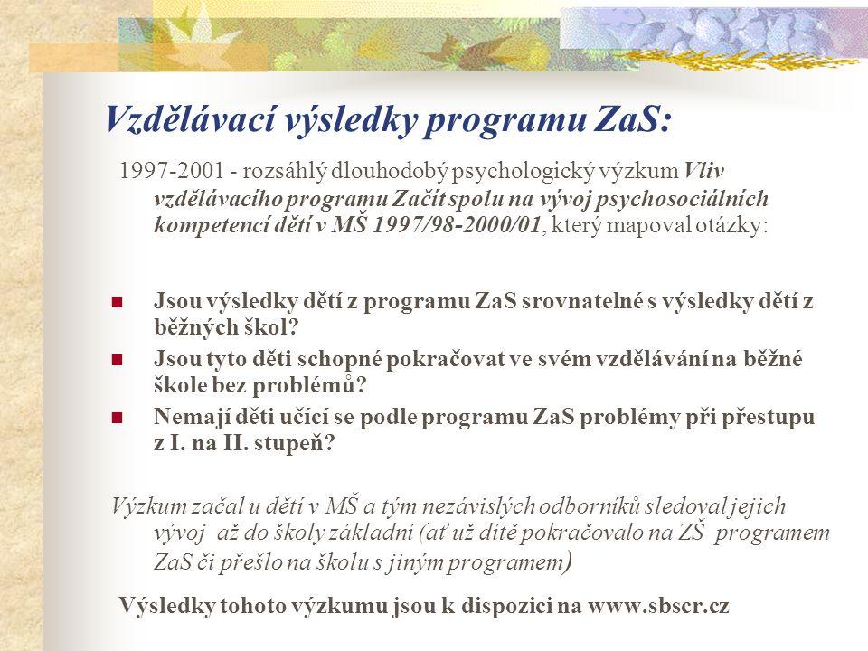 Vzdělávací výsledky programu ZaS: 1997-2001 - rozsáhlý dlouhodobý psychologický výzkum Vliv vzdělávacího programu Začít spolu na vývoj psychosociálníc