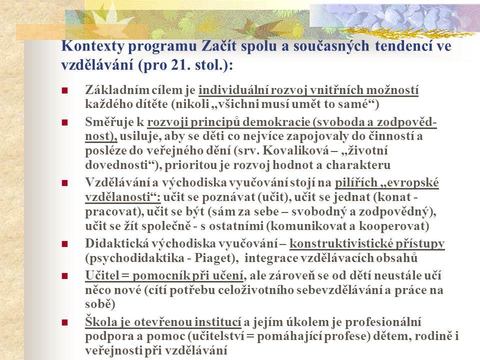 Kontexty programu Začít spolu a současných tendencí ve vzdělávání (pro 21. stol.): Základním cílem je individuální rozvoj vnitřních možností každého d