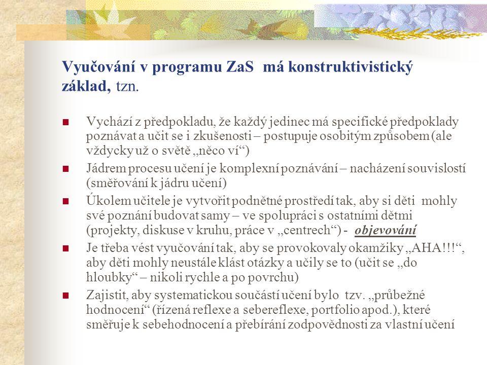 Vyučování v programu ZaS má konstruktivistický základ, tzn. Vychází z předpokladu, že každý jedinec má specifické předpoklady poznávat a učit se i zku