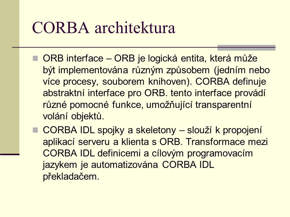 CORBA architektura ORB interface – ORB je logická entita, která může být implementována různým způsobem (jedním nebo více procesy, souborem knihoven).