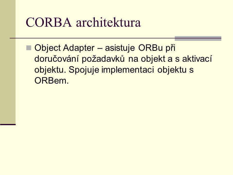 CORBA architektura Object Adapter – asistuje ORBu při doručování požadavků na objekt a s aktivací objektu. Spojuje implementaci objektu s ORBem.