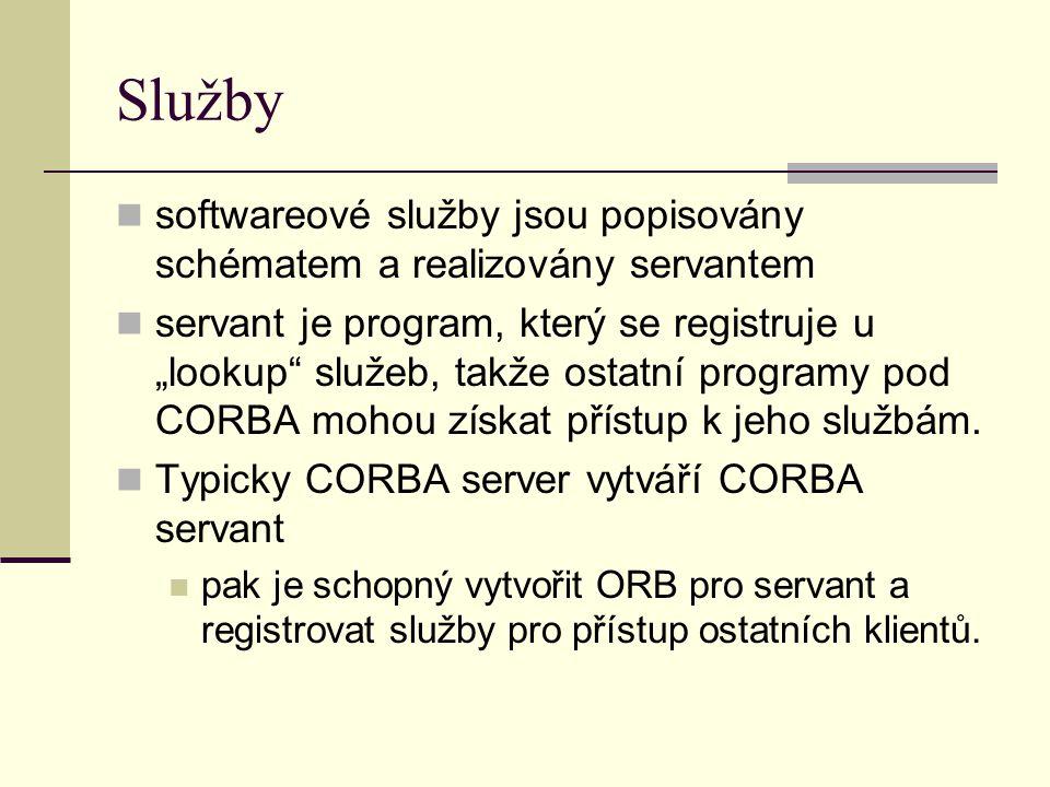 """Služby softwareové služby jsou popisovány schématem a realizovány servantem servant je program, který se registruje u """"lookup služeb, takže ostatní programy pod CORBA mohou získat přístup k jeho službám."""