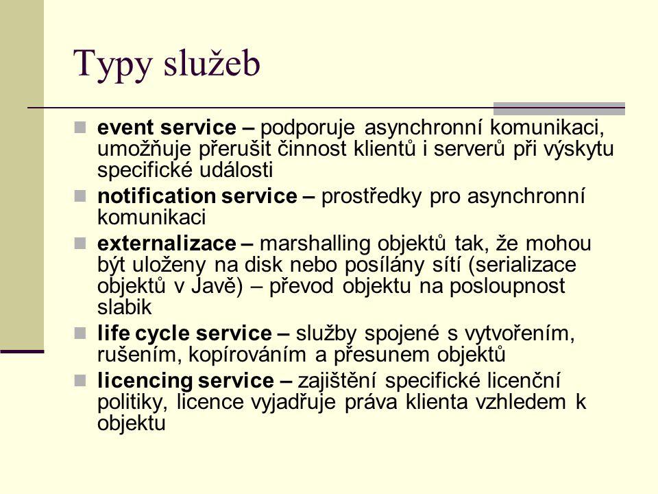 Typy služeb event service – podporuje asynchronní komunikaci, umožňuje přerušit činnost klientů i serverů při výskytu specifické události notification service – prostředky pro asynchronní komunikaci externalizace – marshalling objektů tak, že mohou být uloženy na disk nebo posílány sítí (serializace objektů v Javě) – převod objektu na posloupnost slabik life cycle service – služby spojené s vytvořením, rušením, kopírováním a přesunem objektů licencing service – zajištění specifické licenční politiky, licence vyjadřuje práva klienta vzhledem k objektu