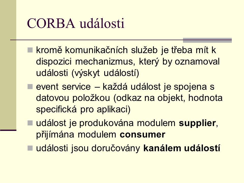 CORBA události kromě komunikačních služeb je třeba mít k dispozici mechanizmus, který by oznamoval události (výskyt událostí) event service – každá událost je spojena s datovou položkou (odkaz na objekt, hodnota specifická pro aplikaci) událost je produkována modulem supplier, přijímána modulem consumer události jsou doručovány kanálem událostí