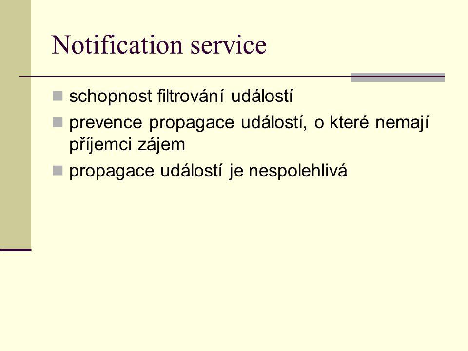 Notification service schopnost filtrování událostí prevence propagace událostí, o které nemají příjemci zájem propagace událostí je nespolehlivá