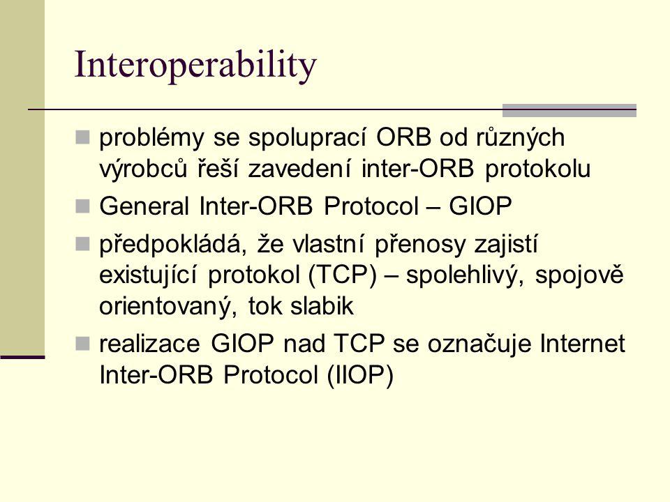 Interoperability problémy se spoluprací ORB od různých výrobců řeší zavedení inter-ORB protokolu General Inter-ORB Protocol – GIOP předpokládá, že vlastní přenosy zajistí existující protokol (TCP) – spolehlivý, spojově orientovaný, tok slabik realizace GIOP nad TCP se označuje Internet Inter-ORB Protocol (IIOP)