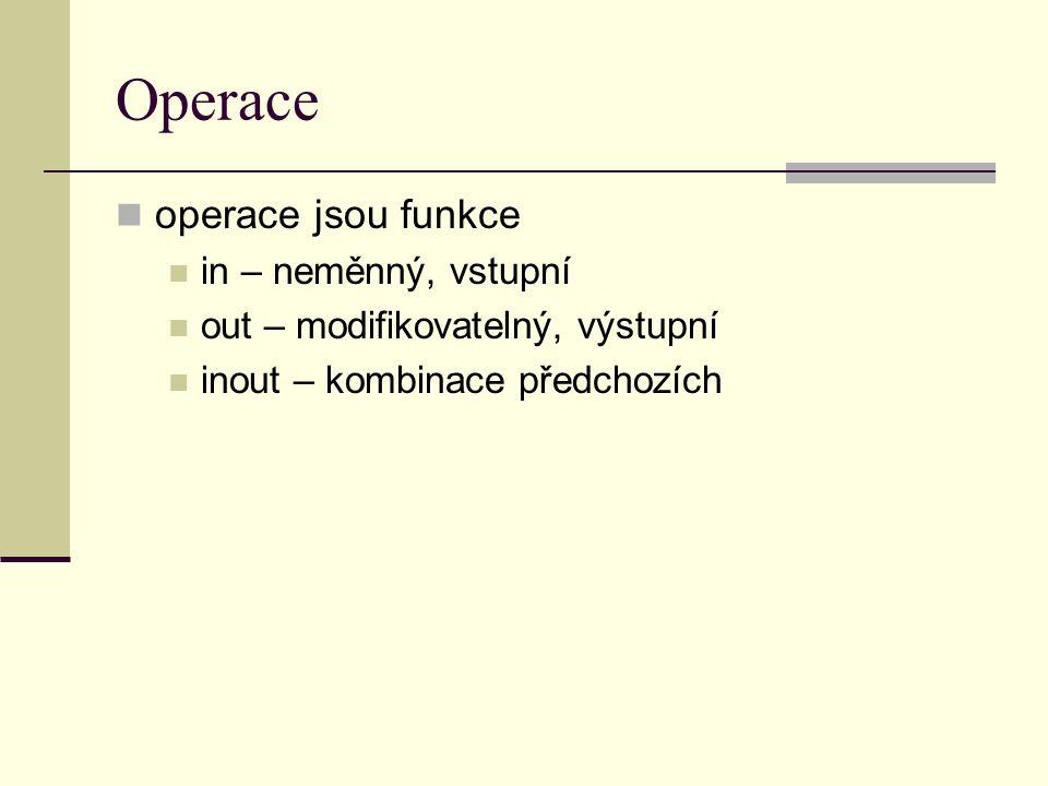 Operace operace jsou funkce in – neměnný, vstupní out – modifikovatelný, výstupní inout – kombinace předchozích