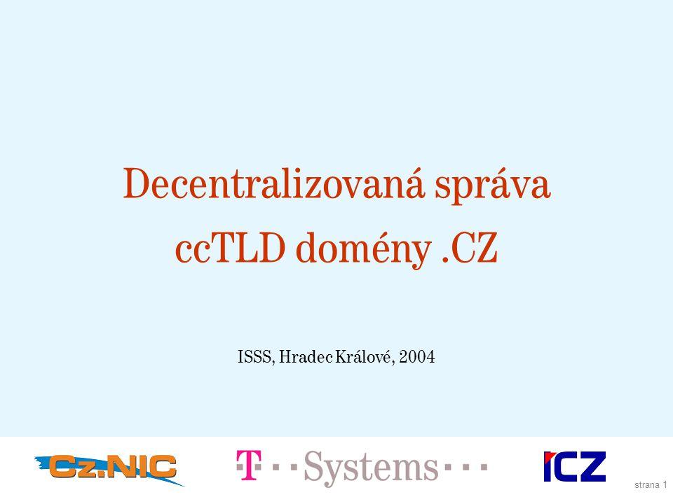 strana 1 Decentralizovaná správa ccTLD domény.CZ ISSS, Hradec Králové, 2004