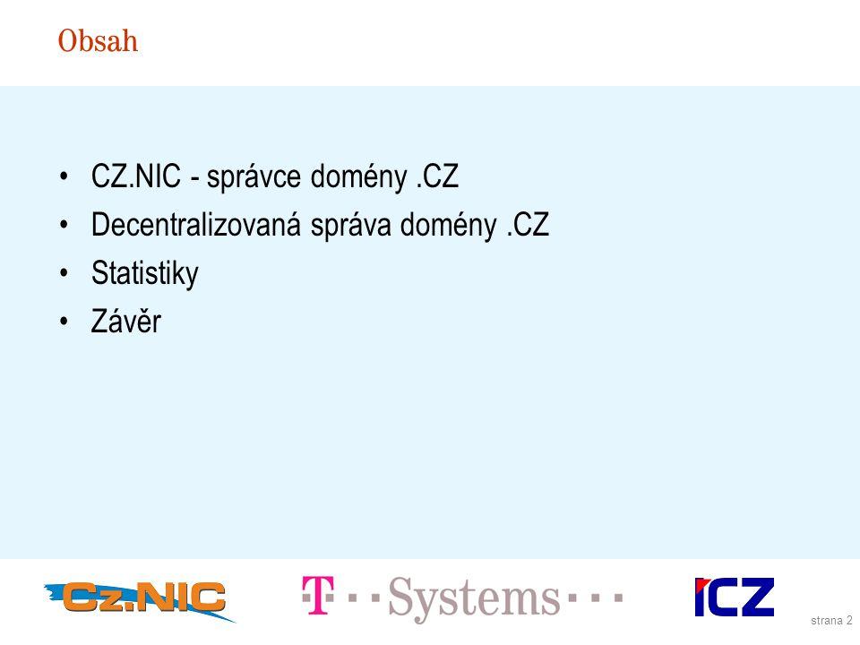 strana 2 CZ.NIC - správce domény.CZ Decentralizovaná správa domény.CZ Statistiky Závěr Obsah