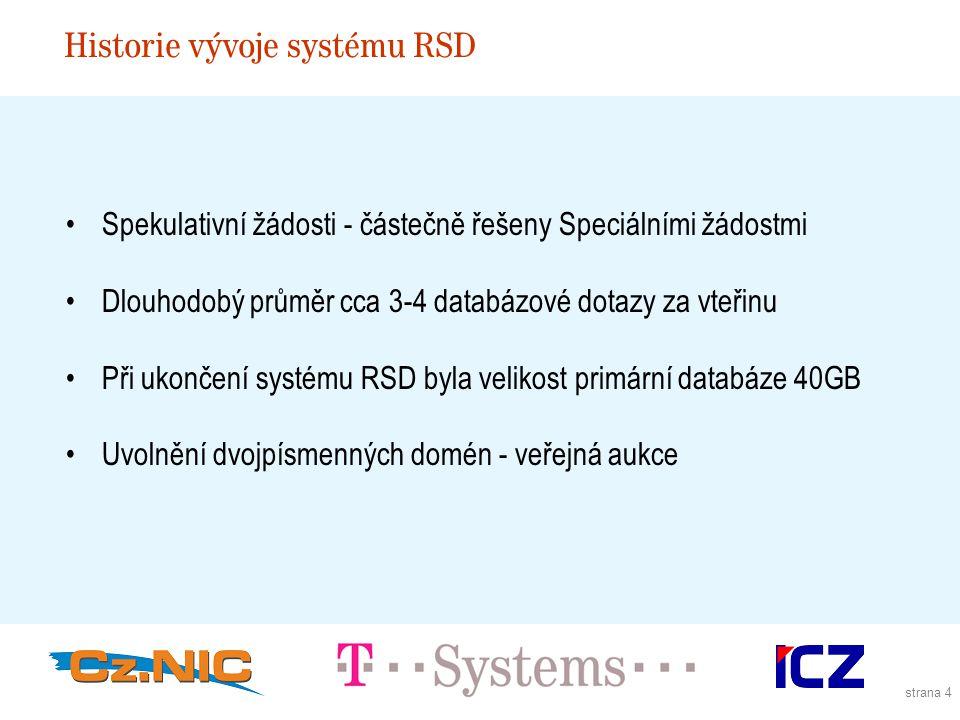 strana 4 Historie vývoje systému RSD Spekulativní žádosti - částečně řešeny Speciálními žádostmi Dlouhodobý průměr cca 3-4 databázové dotazy za vteřinu Při ukončení systému RSD byla velikost primární databáze 40GB Uvolnění dvojpísmenných domén - veřejná aukce