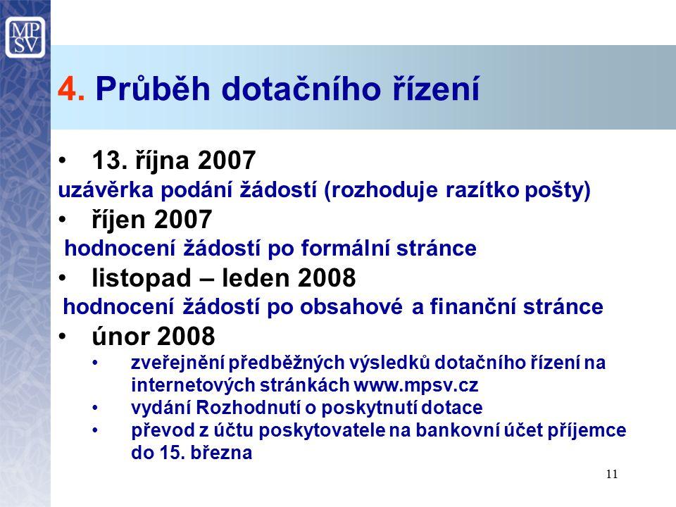 11 4. Průběh dotačního řízení 13. října 2007 uzávěrka podání žádostí (rozhoduje razítko pošty) říjen 2007 hodnocení žádostí po formální stránce listop