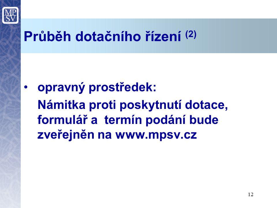12 Průběh dotačního řízení (2) opravný prostředek: Námitka proti poskytnutí dotace, formulář a termín podání bude zveřejněn na www.mpsv.cz