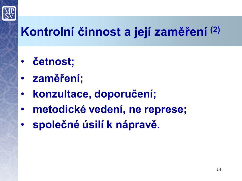 14 Kontrolní činnost a její zaměření (2) četnost; zaměření; konzultace, doporučení; metodické vedení, ne represe; společné úsilí k nápravě.