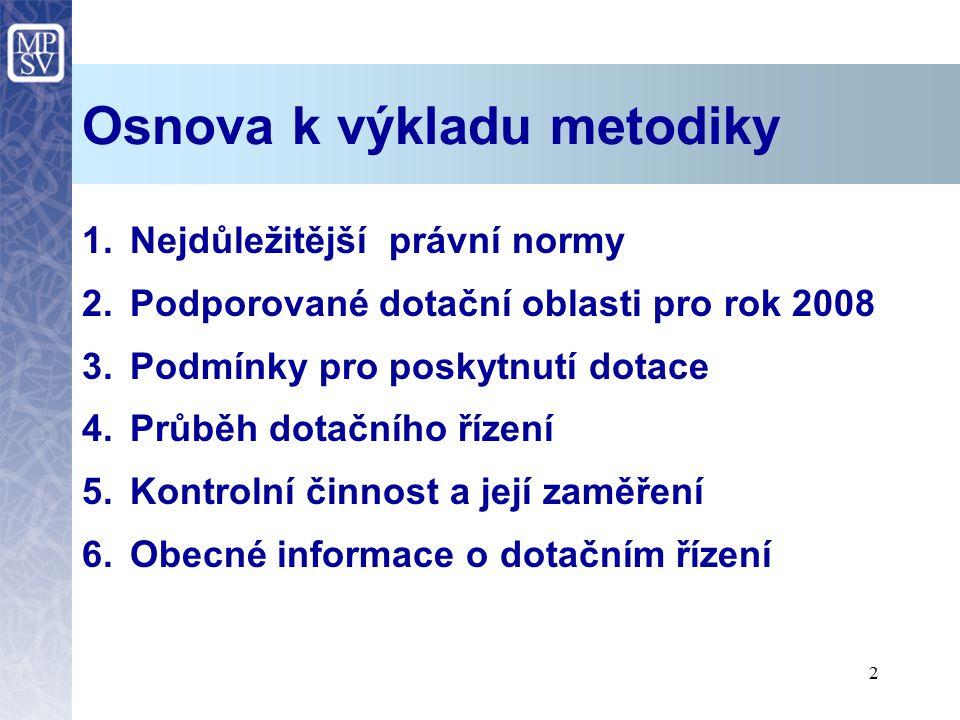 2 Osnova k výkladu metodiky 1.Nejdůležitější právní normy 2.Podporované dotační oblasti pro rok 2008 3.Podmínky pro poskytnutí dotace 4.Průběh dotační