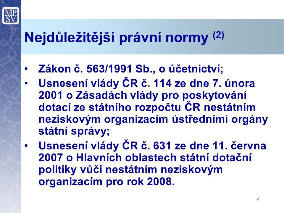 4 Nejdůležitější právní normy (2) Zákon č. 563/1991 Sb., o účetnictví; Usnesení vlády ČR č. 114 ze dne 7. února 2001 o Zásadách vlády pro poskytování
