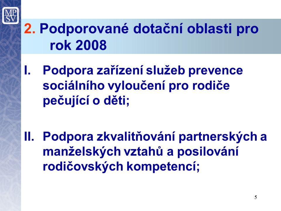 5 2. Podporované dotační oblasti pro rok 2008 I.Podpora zařízení služeb prevence sociálního vyloučení pro rodiče pečující o děti; II.Podpora zkvalitňo