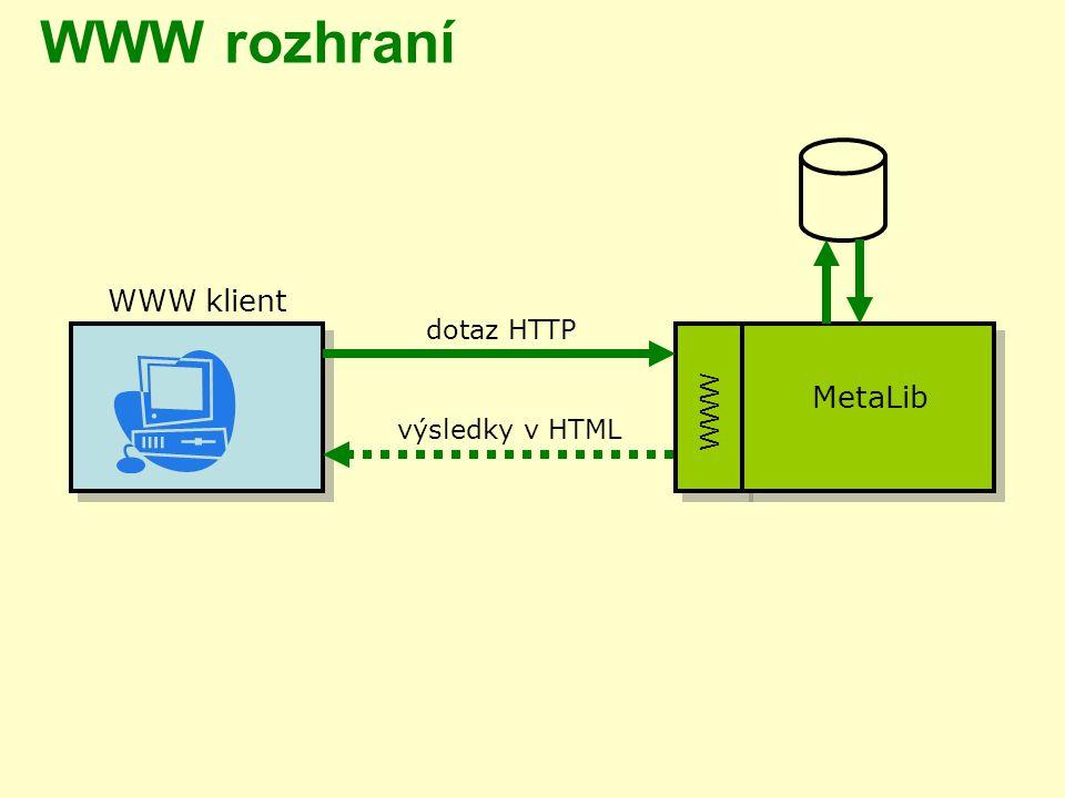 WWW rozhraní WWW klient dotaz HTTP WWW MetaLib výsledky v HTML