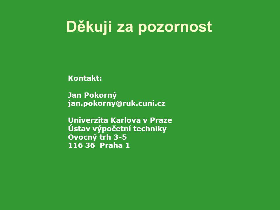 Děkuji za pozornost Kontakt: Jan Pokorný jan.pokorny@ruk.cuni.cz Univerzita Karlova v Praze Ústav výpočetní techniky Ovocný trh 3-5 116 36 Praha 1