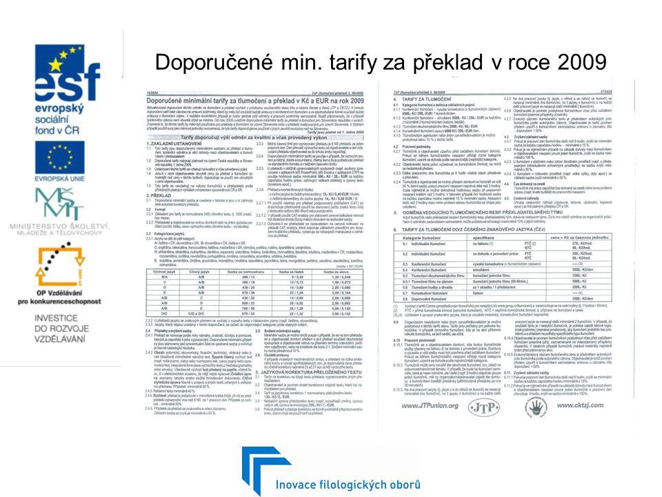 Doporučené min. tarify za překlad v roce 2009