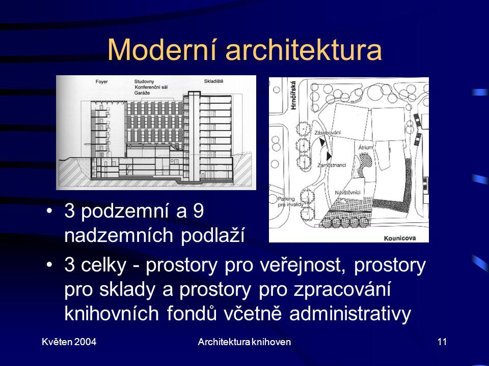Květen 2004Architektura knihoven11 Moderní architektura 3 podzemní a 9 nadzemních podlaží 3 celky - prostory pro veřejnost, prostory pro sklady a prostory pro zpracování knihovních fondů včetně administrativy