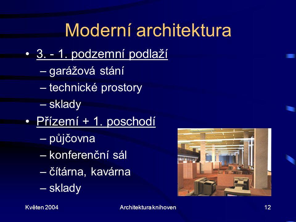 Květen 2004Architektura knihoven12 Moderní architektura 3. - 1. podzemní podlaží –garážová stání –technické prostory –sklady Přízemí + 1. poschodí –pů