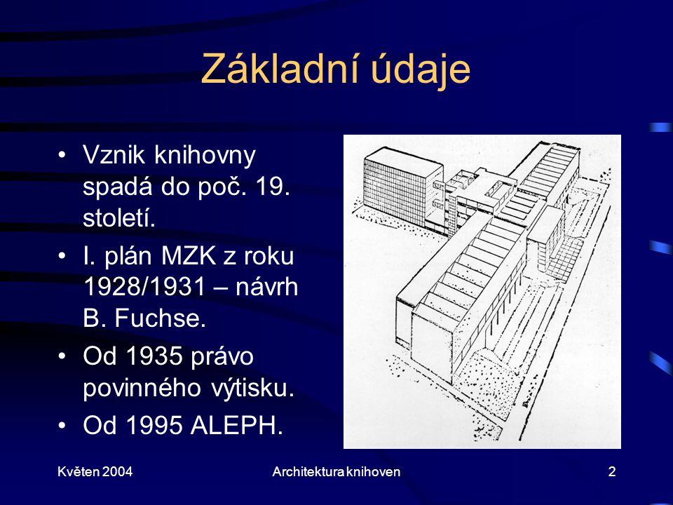 Květen 2004Architektura knihoven2 Základní údaje Vznik knihovny spadá do poč. 19. století. I. plán MZK z roku 1928/1931 – návrh B. Fuchse. Od 1935 prá